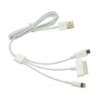 3 in 1 USB Charger Cable for iPhone iPad iPod Samsung (1M)