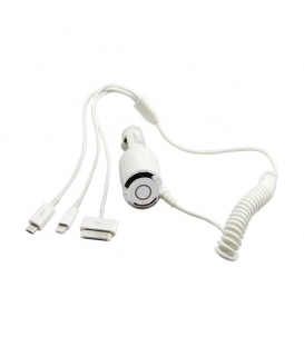 3 in 1 USB Car Charger for iPhone iPad iPod Samsung (1M)