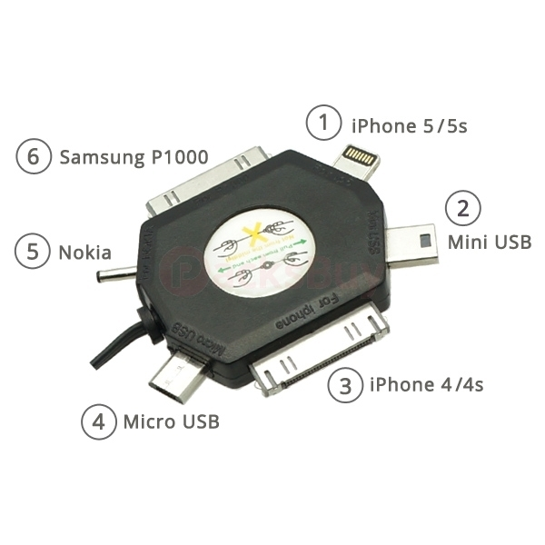 6 in 1 USB Sync Data Charging Charger Cable Cord for iPhone iPad iPod Samsung