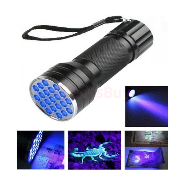 UV Ultra Violet 21 LED Flashlight Mini Blacklight Aluminum Torch Light Lamp