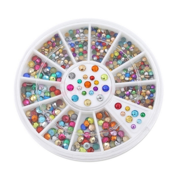 Mixed Colors Wheel Nail Art 3D Crystal Glitter Rhinestone Tips DIY Decoration