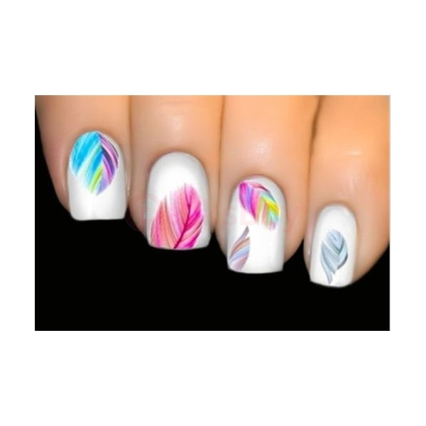 Feather Nail Art Water Transfer Decal Sticker Rainbow Dreams bright color sheet - 1