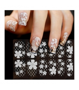 Nail Art Sticker Water Transfer Stickers White Flower Decals Tips 3D Decoration