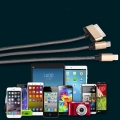 3 in 1 USB Charger Cable Gold  for iPhone iPad iPod Samsung (1M)