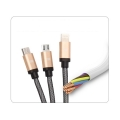 3 in 1 USB Type-C + 8 Pin + Micro USB Charger Cable Gold for iPhone iPad iPod Samsung (1M)