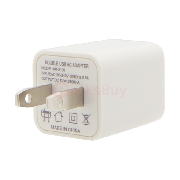2.1A / 1A Universal White US Plug 2 Ports Dual USB AC Wall Charger for iPhone Samsung