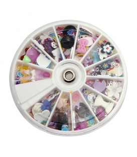 1200 pcs Wheel Mixed Nail Art Tips Glitters Rhinestones Slice Decoration Manicure