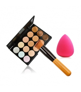 15 Colors Concealer Palette Kit with Brush Face Makeup Contour Cream - Palette 1